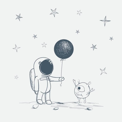 Astronaut gives a Balloon to Alien