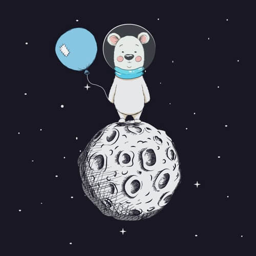 Bear with Balloon stand on Moon