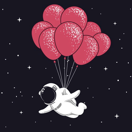 Spaceman fly with many Balloons